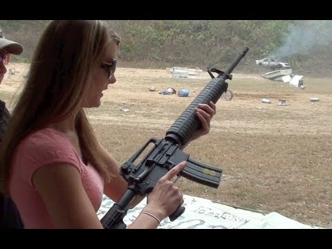 m16 - Follow us on Facebook @ Brandon401401 Kirsti runs a magazine through a FULL-AUTO M16 5.56.