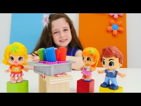 Play doh - Play-Doh sihirli fırında Pinyponlar için muffin yapalım