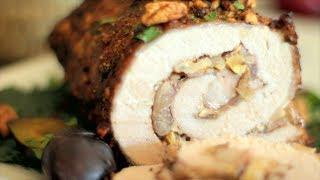 Varkensrollade met champignons en noten