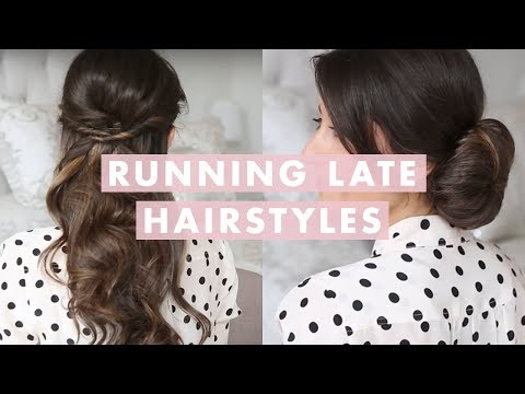 hairstyle - These easy hairstyles are perfect for when you are running late. All you will need to complete these looks are: - bobby pins - hair elastics - hairspray - te...