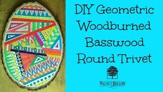The Autumn and Winter holidays are quickly approaching, full of large festive parties and lots of guests. If you're in need of custom tableware for a gift or your own home, this tutorial will help you. Trivets are used under hot dishes, to protect the table from being scorched. The Basswood Country Rounds come in many sizes, making them great for various size dishes. They are commonly used as chargers under plates, which this project would fit that need too.This trivet uses woodburning, watercolor, and silver paint to create the colorful geometric design. It's sealed with Mod Podge Dishwasher Safe Gloss to make cleaning easy. After the 30 day curing time, the trivet can be washed! I chose an intricate geometric design, but you could use this technique for any design...floral, monogram, pumpkins...etc.DISCLOSURE: Walnut Hollow and DecoArt provided me with their products for this project. Walnut Hollow paid me to create this tutorial.SUPPLIES:1 - Walnut Hollow Large Basswood Country RoundWalnut Creative Versa-ToolUniversal PointFlow PointPencilWatercolorDecoArt Media Metallic Fluid Acrylics in SilverMod Podge Dishwasher Safe GlossCup of waterPaper towelSOCIAL MEDIA:Website: http://www.craftyladyabby.comFacebook: https://twitter.com/CraftyLadyAbbyTwitter: https://www.facebook.com/CraftyLadyAbbyGoogle+: https://plus.google.com/+AbbyDavisPinterest: https://www.pinterest.com/CraftyLadyAbbyInstagram: https://instagram.com/craftyladyabby