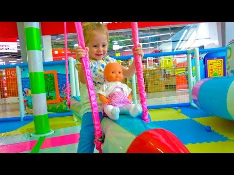 Indoor Playground with baby Born Doll Fun Playtime Family Fun play area for kids Nursery Rhyme Song (видео)