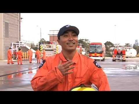 Very happy Japanese Fireman in Australia