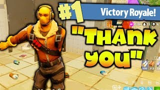 HELPING KID WIN HIS FIRST FORTNITE GAME!!!!