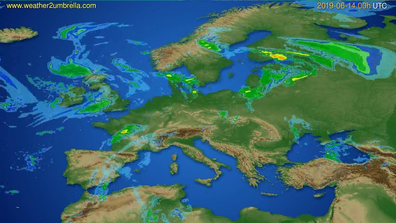 Radar forecast Europe // modelrun: 12h UTC 2019-06-13