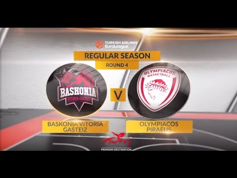 EuroLeague Highlights RS Round 4: Baskonia Vitoria Gasteiz 90-95 Olympiacos Piraeus