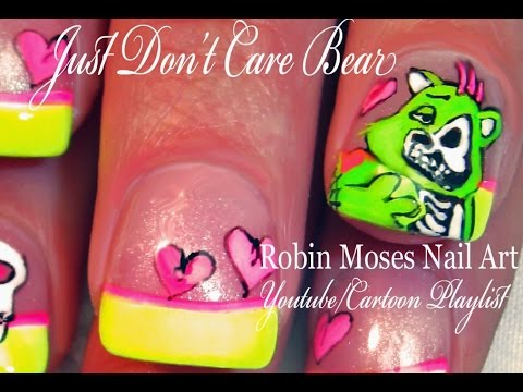 Don't Care Bear Nail Art