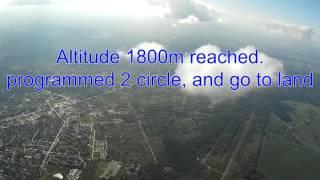 Description:Test flight planned mission 1800m.DIY APM 2.6 quadcopterspecs:Max Flight time: 34minWeight: 1360 gr.Frame X-type 465-size - aluminiumCabinet - BOX type  (allweather)Controll: APM 2.6GPS/COMPASS external combi module ubloxMotors: RCTIMER 5010-530KV RCTimer ESC12A SimonK Firmware Speed ControllerCarbon Blade Size: 12*55Power module: 3D Robotics cloneBattery: Walkera 5200 3STransmitter: Turnigy 9X, upgraded.Receiver FrSky D8R II+Camera: SJCAM4000GIMABL: G-2D WALKERA gimbalFPV Video: Monitor Diversity SKY 702, Stick Dipole antenna, Patch antenna
