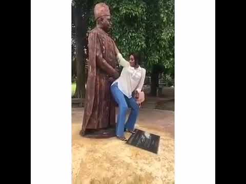 UNILAG Female Student Twerking With Former VC Statue