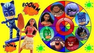 Video Moana & PJ Masks Spin the Wheel Game w Disney Princess Moana, Maui, Owlette & Catboy Dolls! MP3, 3GP, MP4, WEBM, AVI, FLV Januari 2018