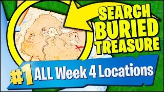 SEARCH BURIED TREASURE, PIRATE CANNON THROUGH STRUCTURES (Fortnite Season 8 Week 4)