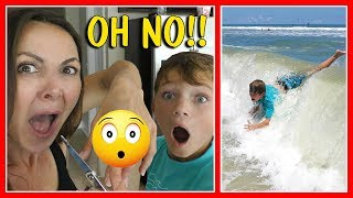 😱DOES MOM NEED STITCHES?😱| TYLER BAILS AT THE BEACH | We Are The Davises