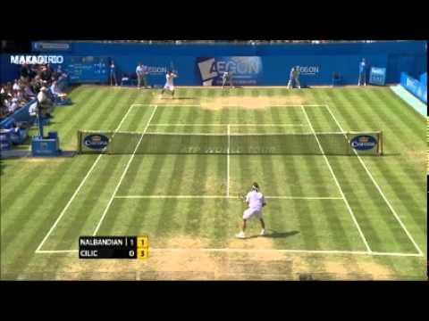 david nalbandian disqualified - David Nalbandian kicks advertising board and linesman- disqualified Aegon championships 2012.