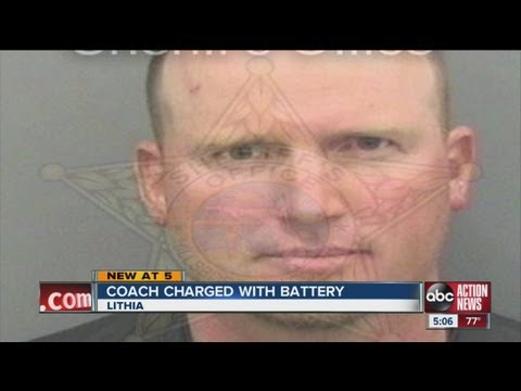 battery - Softball coach charged with battery after head-butting umpire.