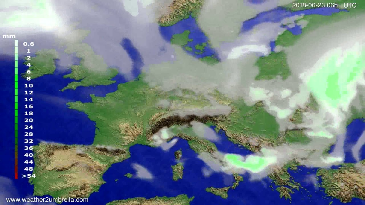 Precipitation forecast Europe 2018-06-20