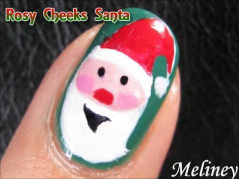 Christmas Nails Art Tutorial - Rosy Cheeks Santa Clause Xmas Kris Kringle Design for Short Nails