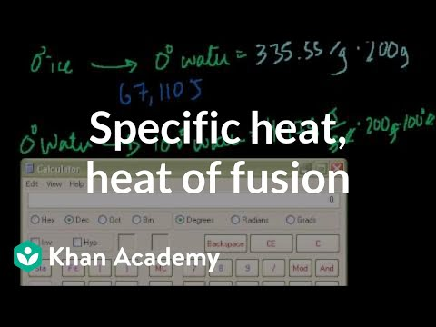 Specific Heat Heat Of Fusion And Vaporization Example Video