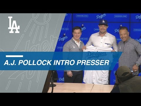 Video: Dodgers introduce newly acquired outfielder A.J. Pollock