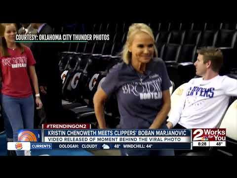4'11 Kristin Chenoweth meets 7'3 Clippers player Boban Marjanovic