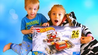 Child Niki Pretend play with Christmas Toy Cars from Santa