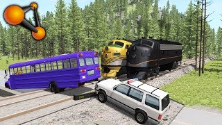 Stuck at rails (train railroad crossing crashes) #4 - BeamNG.Drive