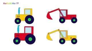 Учим цвета - подбираем по цвету и форме. Развивающий мультик про трактор и экскаватор