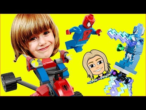 Spider Man VS Electro - Gertit plays with Spider-Trike vs. Electro Super Heroes Toys (видео)