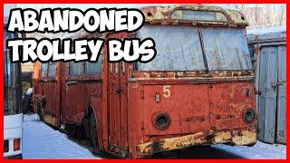Abandoned rusty electric vehicles. Exploring abandoned trolleybus