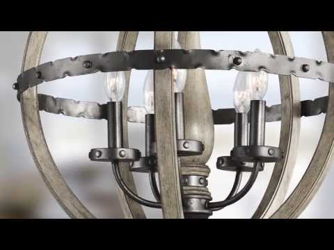 Video for Evan Distressed Antique Gray Six Light Pendant