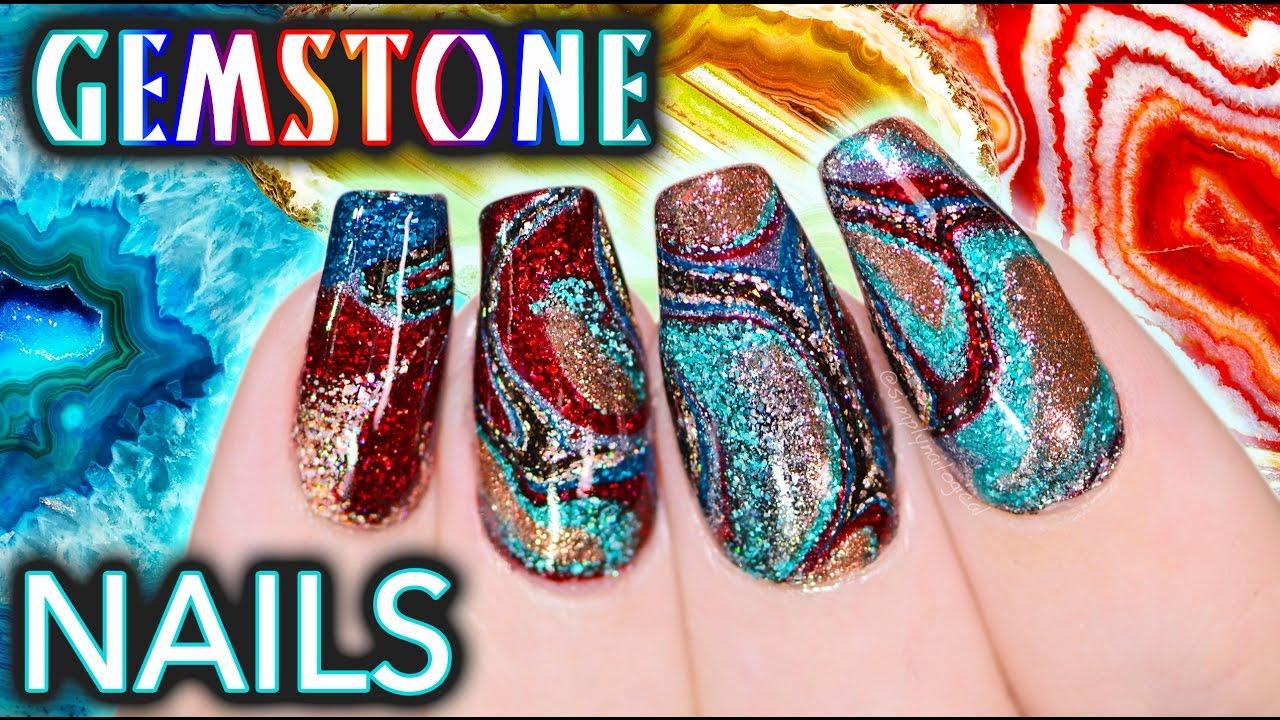 DIY Gemstone Nail Art - NO WATER WATERMARBLE! thumbnail