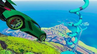 4-Player Chiliad To Ocean Stunt Race - GTA V Online Funny Moments | JeromeACE