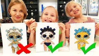 3 МАРКЕРА ЧЕЛЛЕНДЖ с МАМОЙ / 3 MARKER CHALLENGE w/ our MOM ! LOL dolls KIDS EDITION Детская версия