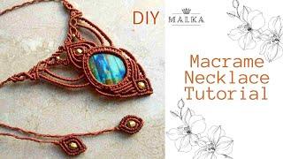 Macrame Drop Stone Necklace 🖤 Beautiful Macrame Necklace Full Tutorial 🖤 DIY Macrame Jewelry