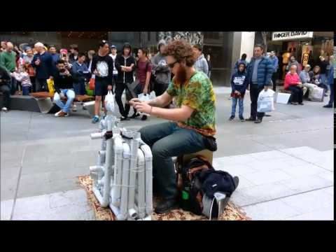 All Rundle Mall's 'Pipe Guy' Needs To Make Music Is Thongs And PVC Pipe