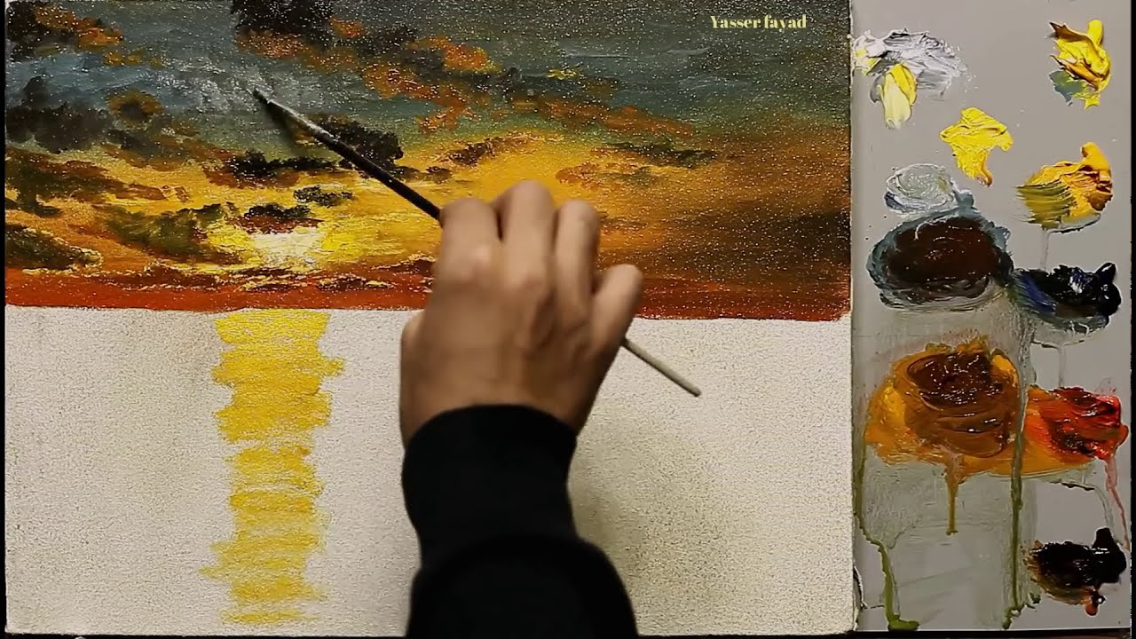 oil painting tutorial of a sunset by yasser fayad