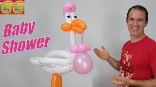 Cigueña Para Baby Shower Con Globos - Decoracion Para Baby Shower - Globoflexia Facil