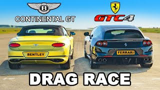 Ferrari GTC4 v Bentley GT: DRAG RACE