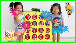 Giant Smash Box Surprise Toys and Learn Bugs Name with Emma and Kate!