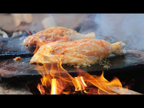 Primitive Technology: Cooking Chicken Legs on a Rock For Food | Wilderness Food