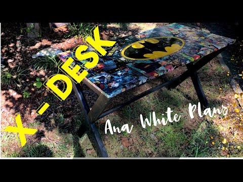 X Desk with Batman Comic Book Desktop