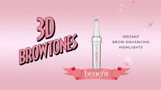 3D Browtones instantly enhances your natural brow color with subtle highlights & soft contrast. Highlight your natural brow hair by using 3D Browtones alone or with other brow products. This water resistant, 12-hour long-lasting highlighting gel is sure to take your brows to the next dimension!  Shop 3D Browtones here: https://www.benefitcosmetics.com/us/en/product/3d-browtones  http://www.benefitcosmetics.com  Subscribe for more Tips & Tricks: http://bit.ly/Utd37q