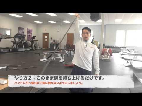 背面の筋肉を連鎖的・連動的に使えるように!「バンド・ショルダー・プレス・FI」