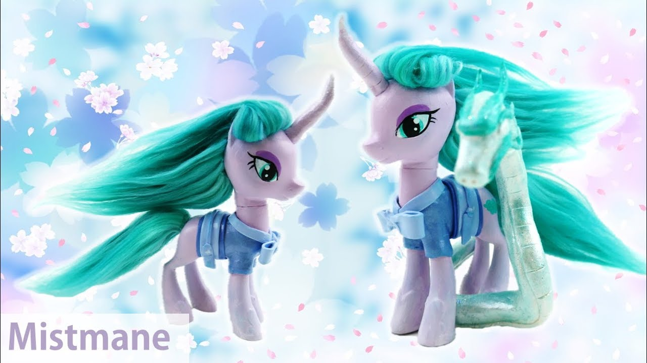My Little Pony Custom Mistmane Unicorn and Dragon - Campfire Tales