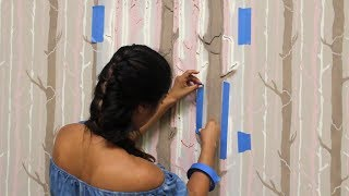 How To Stencil A DIY Tree Branch Wallpaper Design With Wall Stencils For Painting