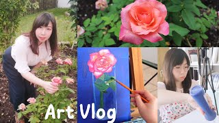 5 TIPS FOR PAINTING STILL LIFE/Rose Flower In A Glass Vase Painting/ STUDIO VLOG