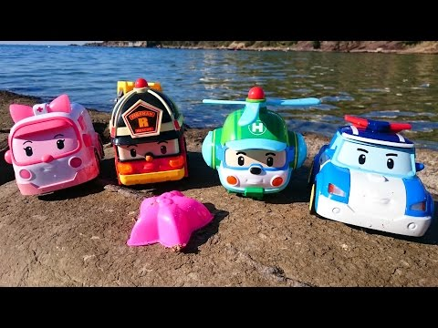 Робокар Поли - игрушечные машинки на пляже - видео для детей