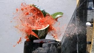 Awesome Golf ball gun Exploding watermelons