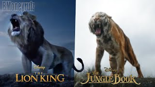 THE LION KING (2019) Side-By-Side w/ JUNGLE BOOK (2016)