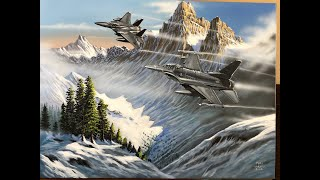 Acrylic Video Tutorial - Fighter Jets: Marc Harvill - #art #acrylicpainting #planes #jets #aviation