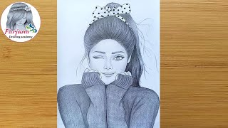 A Cute Girl - Drawing Tutorial / How To Draw A Girl - Step By Step / Pencil Sketch